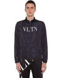 Valentino Vltn フーデッドナイロンウインドジャケット - ブラック