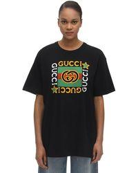 Gucci T-Shirt mit Logo-Print - Schwarz