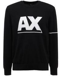 Armani Exchange ビスコースブレンドニットセーター - ブラック