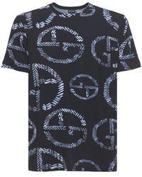 Giorgio Armani T-shirt Aus Stretch-baumwolljersey Mit Ga-logo - Blau