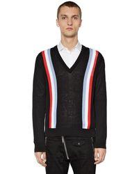 DSquared² Sweater Aus Baumwollstrick Mit Streifen - Schwarz