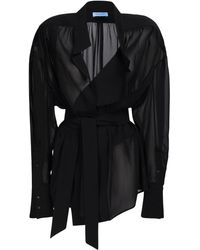 Mugler モスリンラップマキシシャツ - ブラック