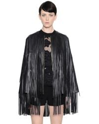 Elie Saab - Fringed Nappa Leather Cape - Lyst