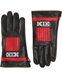 KTZ - Two Tone Embroidered Leather Gloves - Lyst