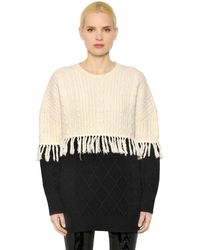 Steve J & Yoni P | Fringed Wool Cable Knit Sweater | Lyst
