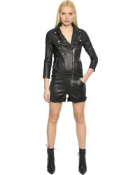 RTA Stretch Leather Biker Jumpsuit - Black