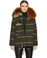 Mr & mrs italy Check Boiled Wool Parka With Murmansky in Black | Lyst