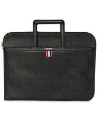 Thom Browne Pebbled Leather Slim Briefcase - Black