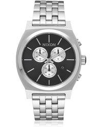 Nixon - Time Teller Silver Finish Chrono Watch - Lyst