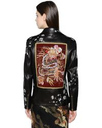 Etro Hand-painted & Embroidery Leather Jacket - Black