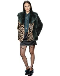 N°21 Leopard Printed Rabbit & Shearling Coat - Multicolour