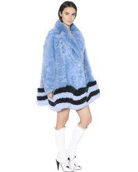 Fendi Oversized Shearling & Fox Fur Coat - Blue