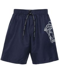 Versace Shorts Mare Stampati - Blu