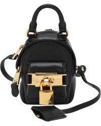 Moschino Mini Leather Backpack Key Holder - Black