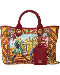 Dolce & Gabbana Borsa Piccola In Tela Con Pelle - Rosso