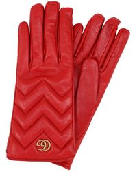 Gucci GG Marmont Chevron-quilted Leather Gloves - Red