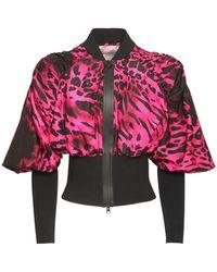 Redemption Athletix Animalier Nylon Crop Jacket - Pink