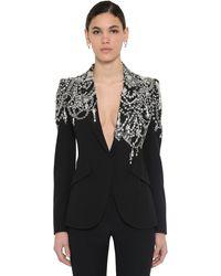 Alexander McQueen Crystal Embellished Single Breasted Crepe Blazer - Black