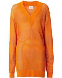 """Burberry Pull-over En Maille Col En V """"zoie"""" - Orange"""