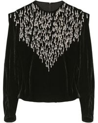 Isabel Marant Gabanoe Beaded Velvet Top - Black