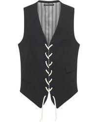 Yohji Yamamoto Wool Gabardine Lace-up Vest - Black