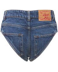 Y. Project Short En Denim De Coton Biologique Taille Haute - Bleu