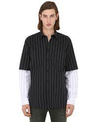 DIESEL コットンポプリン ベースボールシャツ - ブラック