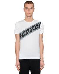 Fendi - Ff Striped Cotton Jersey T-shirt - Lyst