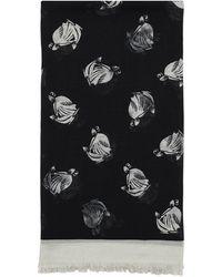Lanvin ウール混 ロゴプリントスカーフ - ブラック