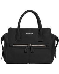 DSquared² Medium Rubberized Top Handle Bag - Black