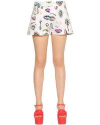 Boutique Moschino - Beauty Print Cotton Poplin Shorts - Lyst