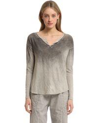 Transit Hand Dyed Linen Jersey Henley T-shirt - Grey