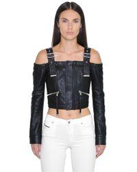 Diesel Black Gold Off The Shoulders Cropped Leather Jacket - Black