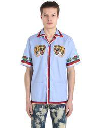 Gucci Tiger Patch Oxford Bowling Shirt
