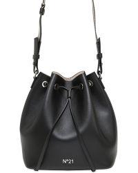 N°21 Leather Bucket Bag - Black