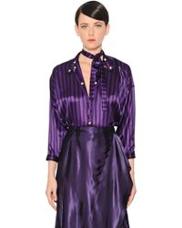Nina Ricci - Striped Light Silk Satin Bodysuit - Lyst
