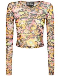 Versace Jeans Couture Printed Mesh Top - Black