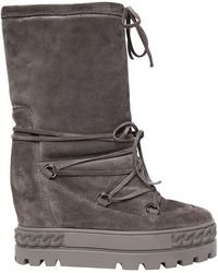 Casadei - 80mm Suede Wedged Sneaker Boots - Lyst