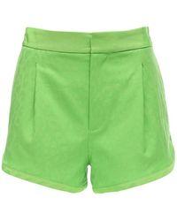 Dundas Leopard-jacquard Wool-blend Shorts - Green