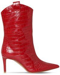 Alexandre Vauthier 80mm Croc Embossed Leather Ankle Boots - Красный