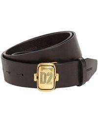 DSquared² Leather Belt W/ D2 Plaque - Black