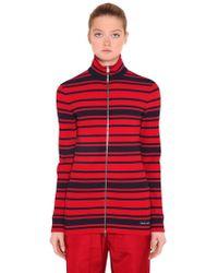 Prada - Striped Ribbed Knit Zip-up Sweater - Lyst