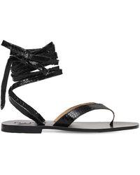 Capri Positano 10mm Pisa Python Print Leather Sandals - Black