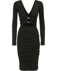 Roberto Cavalli Шерстяное Платье С Металлической Пряжкой - Черный