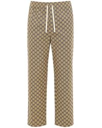Gucci Interlocking Gg Canvas Trousers W/ Leather - Natural