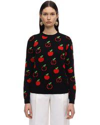 Gucci Gg & Apple Wool Intarsia Knit Jumper - Black