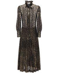 Saint Laurent Платье Из Жоржета - Черный