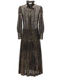 Saint Laurent Leopard Devoré ジョーゼットシャツドレス - ブラック