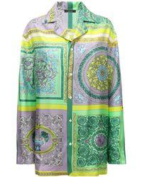 Versace Heritage シルクツイルシャツ - グリーン