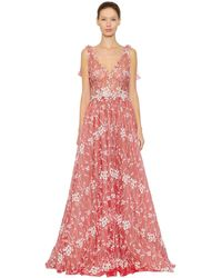 Luisa Beccaria Floral Embroide - Red